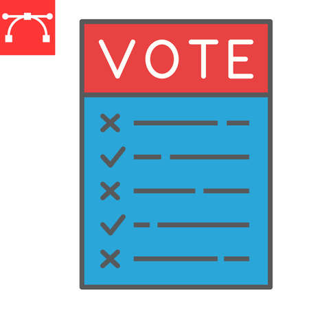Ballot paper color line icon, election and checklist, voting paper sign vector graphics, editable stroke filled outline icon,  .