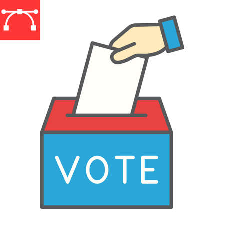 Hand voting ballot box color line icon, election and vote, vote box sign vector graphics, editable stroke filled outline icon,  .
