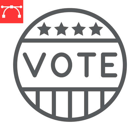 Vote badge line icon, election and democratic, vote button sign vector graphics, editable stroke linear icon,  .