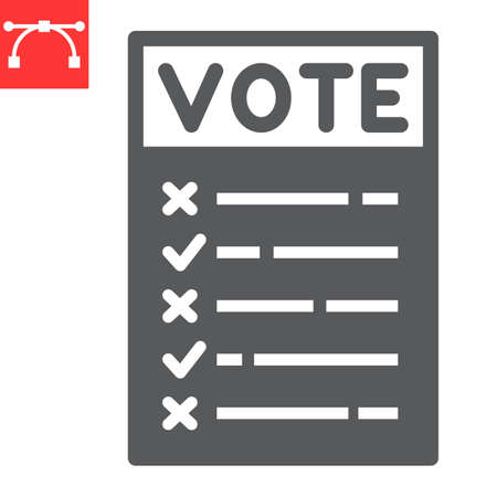 Ballot paper glyph icon, election and checklist, voting paper sign vector graphics, editable stroke solid icon,  .