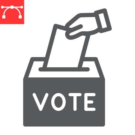 Hand voting ballot box glyph icon, election and vote, vote box sign vector graphics, editable stroke solid icon,  . Çizim