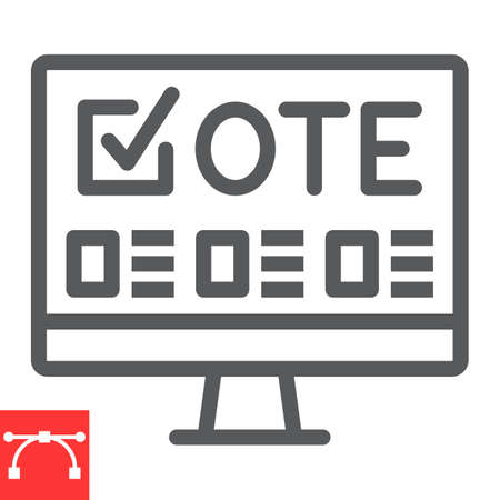 Online voting line icon, election and online vote, monitor sign vector graphics, editable stroke linear icon,  .