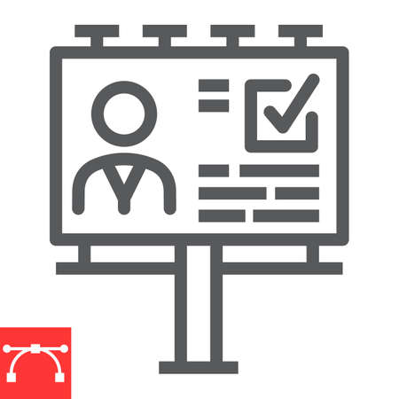Agitation billboard line icon, election and vote, billboard sign vector graphics, editable stroke linear icon,  .