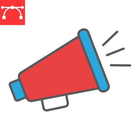 Megaphone color line icon, fake news and propaganda, loudspeaker sign vector graphics, editable stroke filled outline icon,  . Çizim