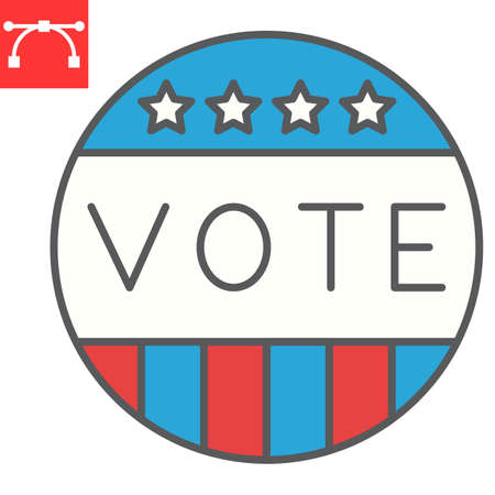 Vote badge color line icon, election and democratic, vote button sign vector graphics, editable stroke filled outline icon,  . Çizim