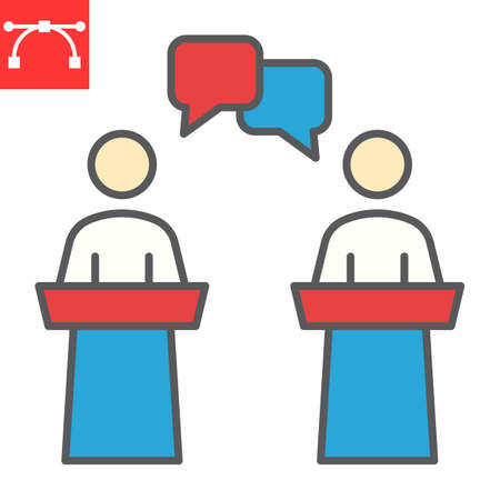 Debate color line icon, election and discussion, political debate sign vector graphics, editable stroke filled outline icon,  .