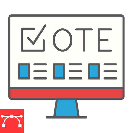 Online voting color line icon, election and online vote, monitor sign vector graphics, editable stroke filled outline icon,  . Çizim