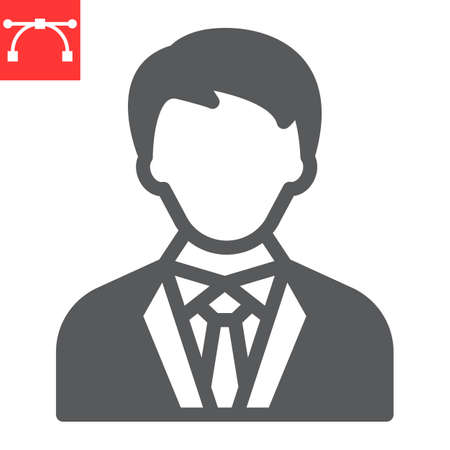 President glyph icon, election and user, manager sign vector graphics, editable stroke solid icon,  .