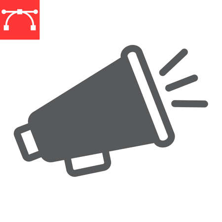 Megaphone glyph icon, fake news and propaganda, loudspeaker sign vector graphics, editable stroke solid icon,  . Çizim