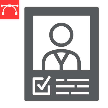 Vote candidate poster glyph icon, election and vote, candidate sign vector graphics, editable stroke solid icon,  .