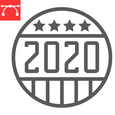 Vote badge 2020 line icon, election and democratic, vote button sign vector graphics, editable stroke linear icon,  . Çizim