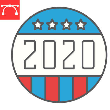 Vote badge 2020 color line icon, election and democratic, vote button sign vector graphics, editable stroke filled outline icon,  . Çizim