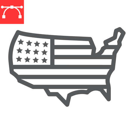 USA map line icon, country and flag, american map sign vector graphics, editable stroke linear icon,  .