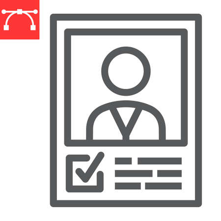 Vote candidate poster line icon, election and vote, candidate sign vector graphics, editable stroke linear icon,  .