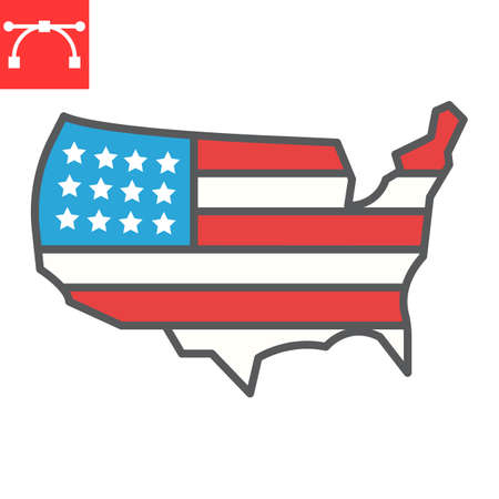 USA map color line icon, country and flag, american map sign vector graphics, editable stroke filled outline icon,  . Çizim