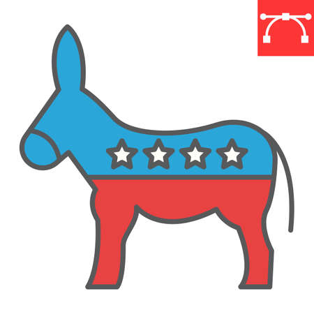 Democratic donkey color line icon, election and democrat, donkey sign vector graphics, editable stroke filled outline icon,  .