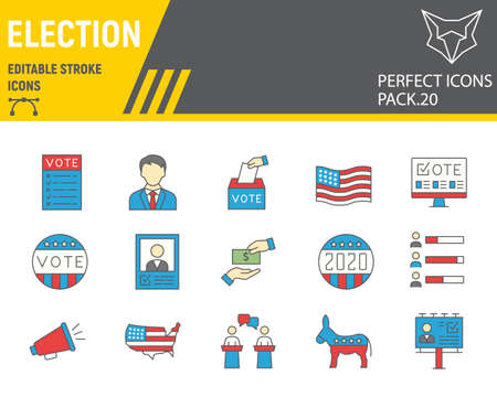 Voting and Election color line icon set, vote collection, vector sketches, logo illustrations, Elections icons, Voting 2020 signs filled outline pictograms, editable stroke.