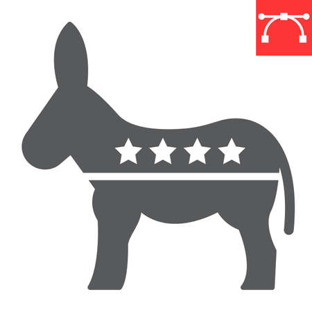 Democratic donkey glyph icon, election and democrat, donkey sign vector graphics, editable stroke solid icon,  . Çizim