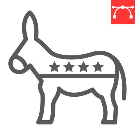 Democratic donkey line icon, election and democrat, donkey sign vector graphics, editable stroke linear icon,  .