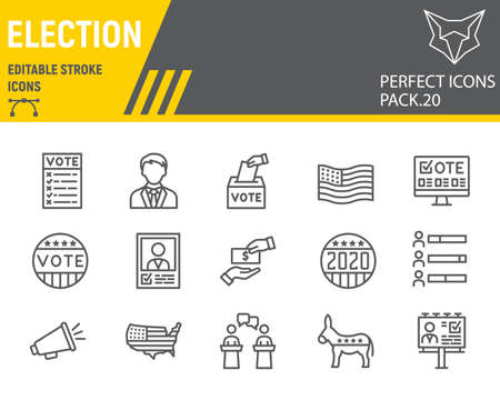 Voting and Election line icon set, vote collection, vector sketches, logo illustrations, Elections icons, Voting 2020 signs linear pictograms, editable stroke. Çizim