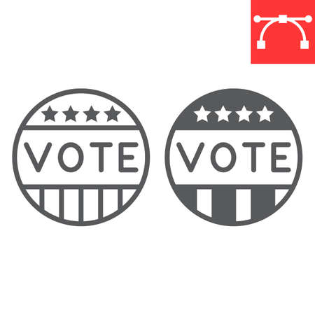 Vote badge line and glyph icon, election and democratic, vote button sign vector graphics, editable stroke linear icon 向量圖像
