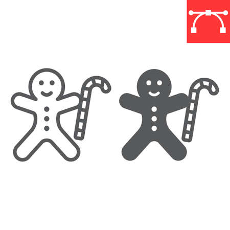 Gingerbread man line and glyph icon, merry christmas and cookie, gingerbread man sign vector graphics, editable stroke linear icon