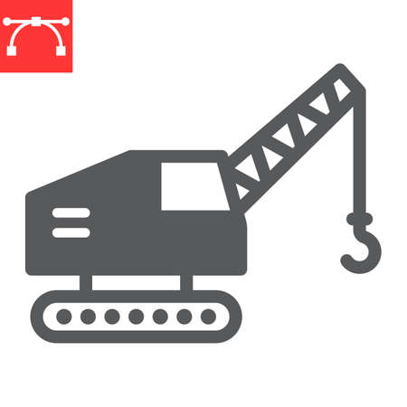 Mobile crane glyph icon, construction and vehicle, crane sign vector graphics, editable stroke solid icon