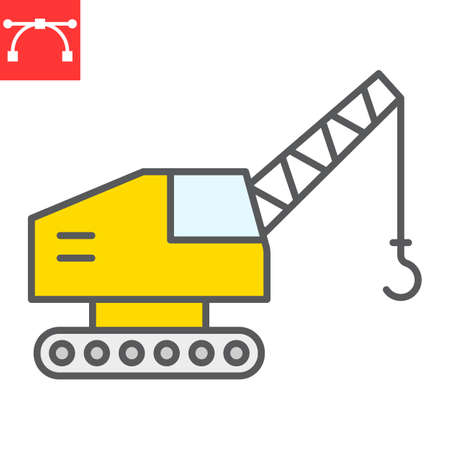 Mobile crane color line icon, construction and vehicle, crane sign vector graphics, editable stroke filled outline icon