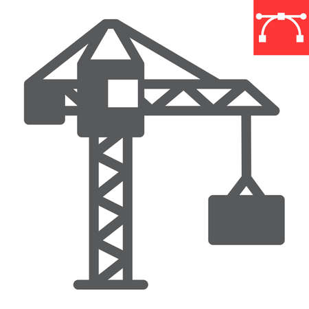 Construction crane glyph icon, construction and industry, building crane sign vector graphics, editable stroke solid icon Çizim