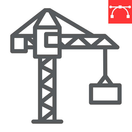 Construction crane line icon, construction and industry, building crane sign vector graphics, editable stroke linear icon Çizim