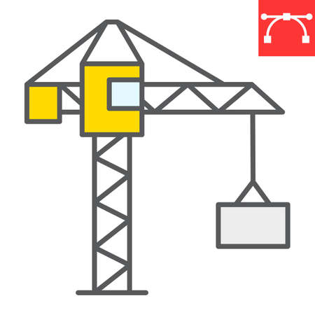 Construction crane color line icon, construction and industry, building crane sign vector graphics, editable stroke filled outline icon