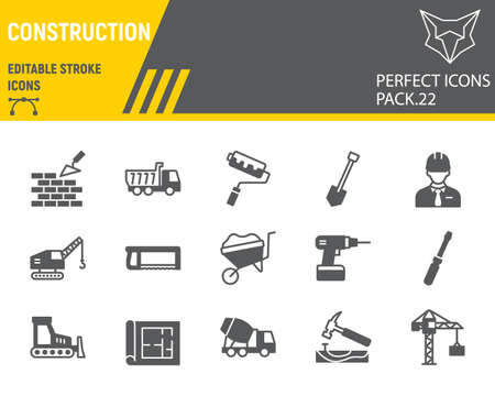 Construction glyph icon set, repair collection, vector sketches, logo illustrations, construction icons, building equipments signs solid pictograms, editable stroke.