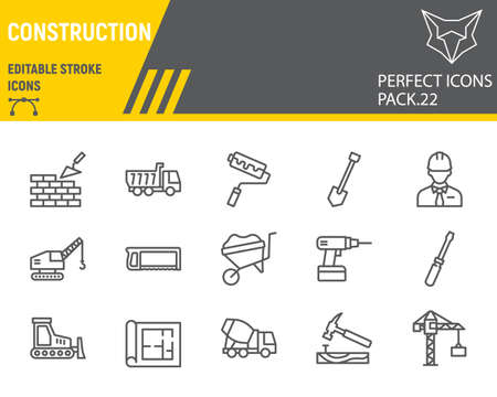 Construction line icon set, repair collection, vector sketches, logo illustrations, construction icons, building equipments signs linear pictograms, editable stroke. Çizim