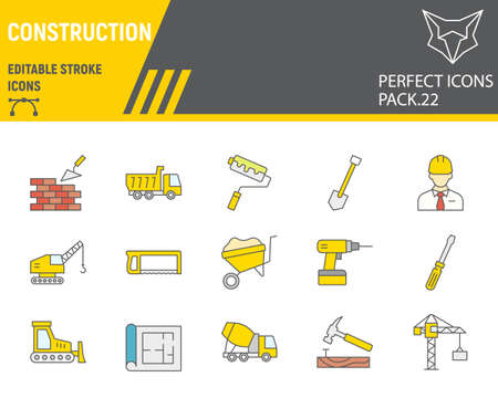 Construction color line icon set, repair collection, vector sketches, logo illustrations, construction icons, building equipments signs filled outline pictograms, editable stroke.