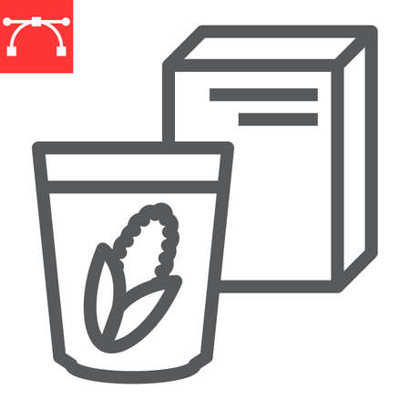 Breakfast cereal line icon, corn and cereals, cereal box sign vector graphics, editable stroke linear icon, eps 10. 向量圖像