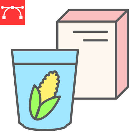 Breakfast cereal color line icon, corn and cereals, cereal box sign vector graphics, editable stroke filled outline icon 向量圖像