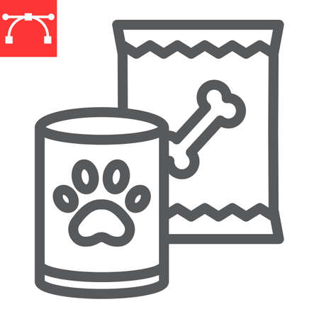 Pet food line icon, tin can and meal, dog food sign vector graphics, editable stroke linear icon