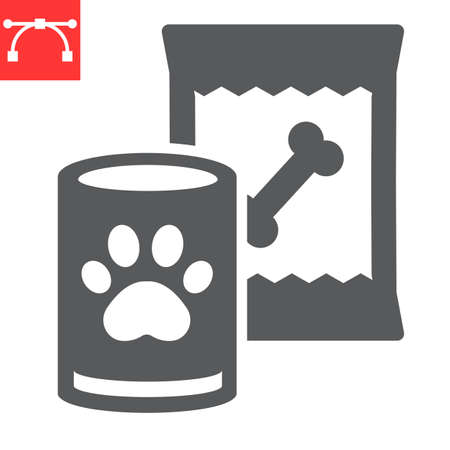 Pet food glyph icon, tin can and meal, dog food sign vector graphics, editable stroke solid icon