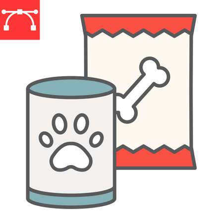 Pet food color line icon, tin can and meal, dog food sign vector graphics, editable stroke filled outline icon