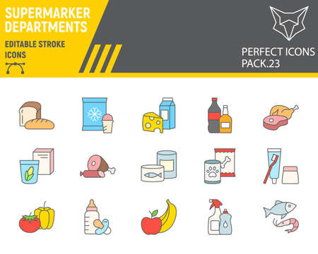 Supermarket departments color line icon set, grocery collection, vector sketches, logo illustrations, online sales icons, supermarket department signs filled outline pictograms, editable stroke. 矢量图像