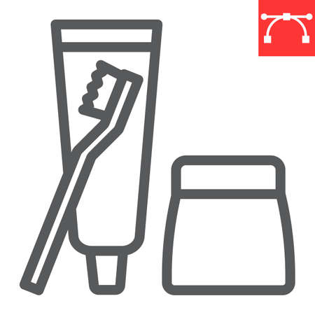 Toiletries line icon, toothbrush and toothpaste, toiletries sign vector graphics, editable stroke linear icon