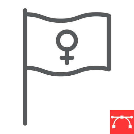 Feminism flag line icon, sexism and feminism, women rights flag sign vector graphics, editable stroke linear icon Illustration