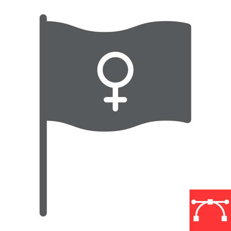 Feminism flag glyph icon, sexism and feminism, women rights flag sign vector graphics, editable stroke solid icon