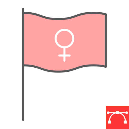 Feminism flag color line icon, sexism and feminism, women rights flag sign vector graphics, editable stroke filled outline icon Illustration