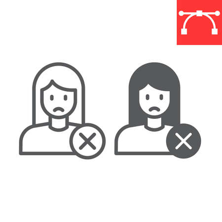 Sex discrimination line and glyph icon, feminism and sexism, sad woman sign vector graphics, editable stroke linear icon
