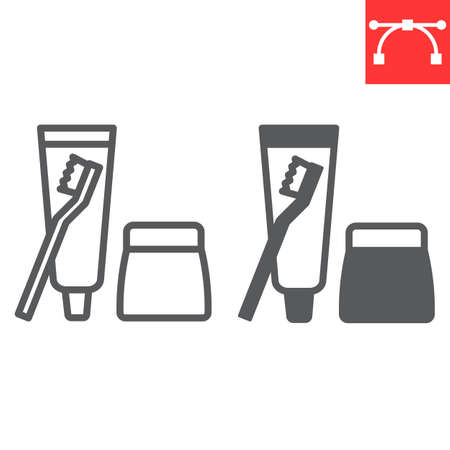 Toiletries line and glyph icon, toothbrush and toothpaste, toiletries sign vector graphics, editable stroke linear icon