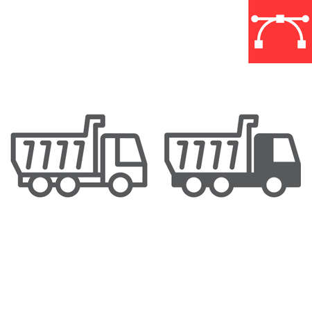Tipper truck line and glyph icon, construction and industry, truck sign vector graphics, editable stroke linear icon