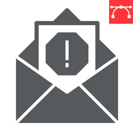 Email virus glyph icon, security and mail, spam sign vector graphics, editable stroke solid icon