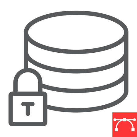 Secure data line icon, security and computing, database sign vector graphics, editable stroke linear icon