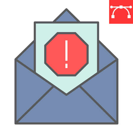 Email virus color line icon, security and mail, spam sign vector graphics, editable stroke filled outline icon Ilustrace